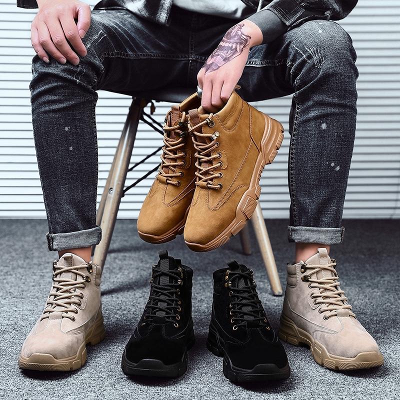 Giày bốt da cổ cao thiết kế sành điệu tiện dụng dành cho nam