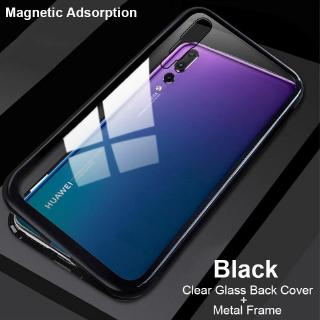 For OPPO F9 Tempered Glass Cover 2 in 1 Aluminum Frame Magnet Adsorption case
