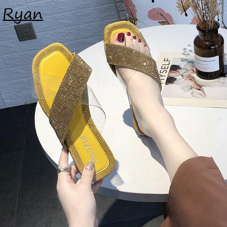 Slippers for women wearing rhinestones fashion versatile flat beach slippers