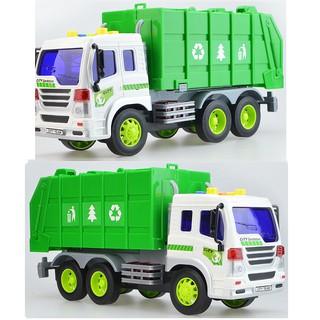 Xe chở rác đồ chơi trẻ em 6 bánh mô hình tỉ lệ 1:16 xe chạy đà có âm thanh và đèn