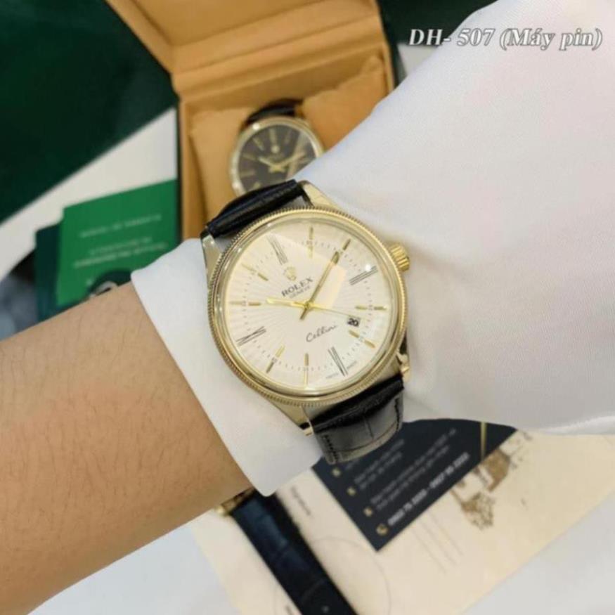 Đồng hồ nam Rolex mặt tròn classic dây da cao cấp bảo hành 12 tháng DH507 Ngọc trinh shop