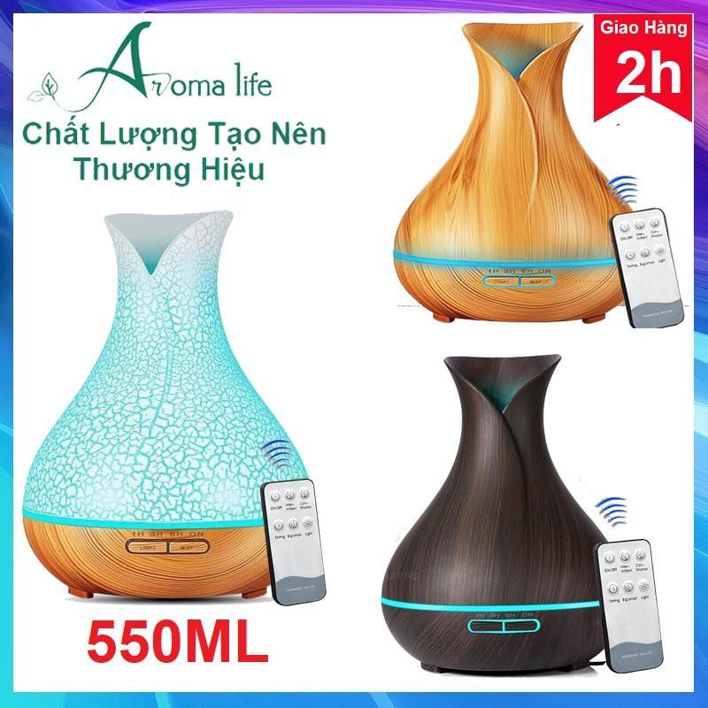 MÁY XÔNG TINH DẦU Freeship Máy xông, khuếch tán tinh dầu tuylip Dung tích 300ml - Tặng tinh dầu sả chanh