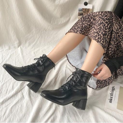 boot nữ 2019-  boot gót cao-  giày cao gót mùa đông- boot đen - boot nữ cá tính
