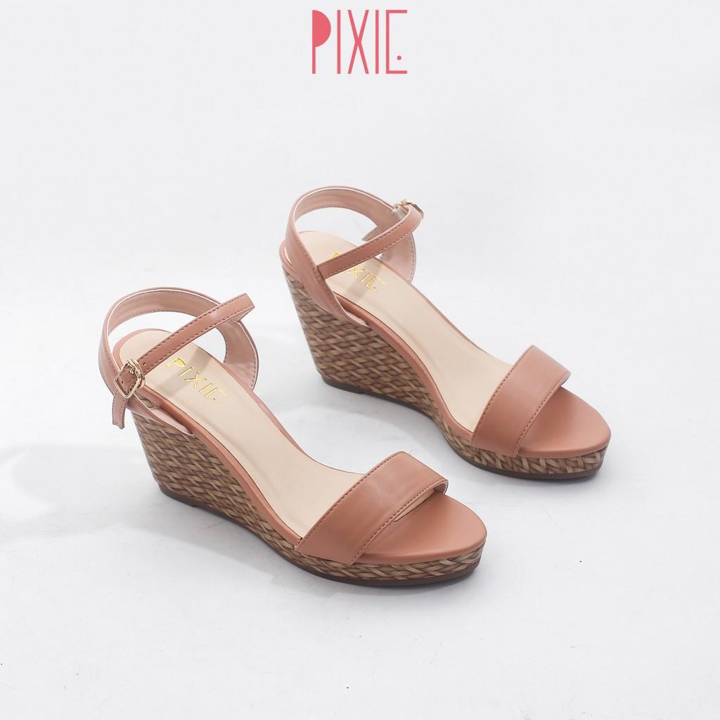 Giày Sandal Đế Xuồng 7cm Quai Ngang Đế Đan Tre Pixie X451