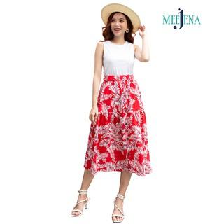 Chân Váy Xòe 42-60 kg Vải Đũi Hoa Qua Gối Eo Thun MEEJENA - 3368 thumbnail