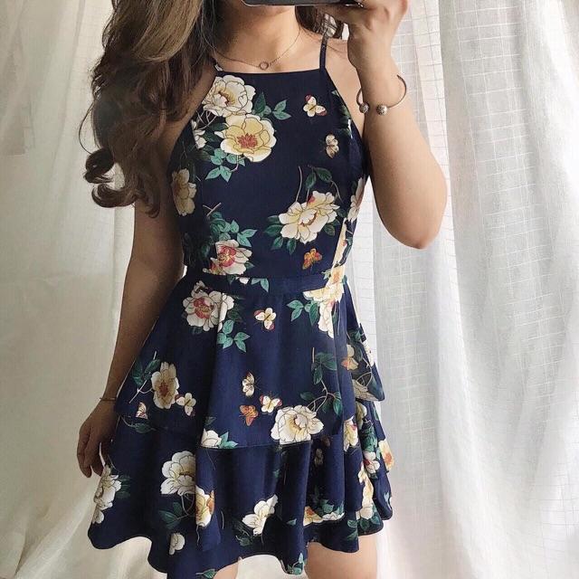 Váy hoa tầng dáng xinh không đệm ngực