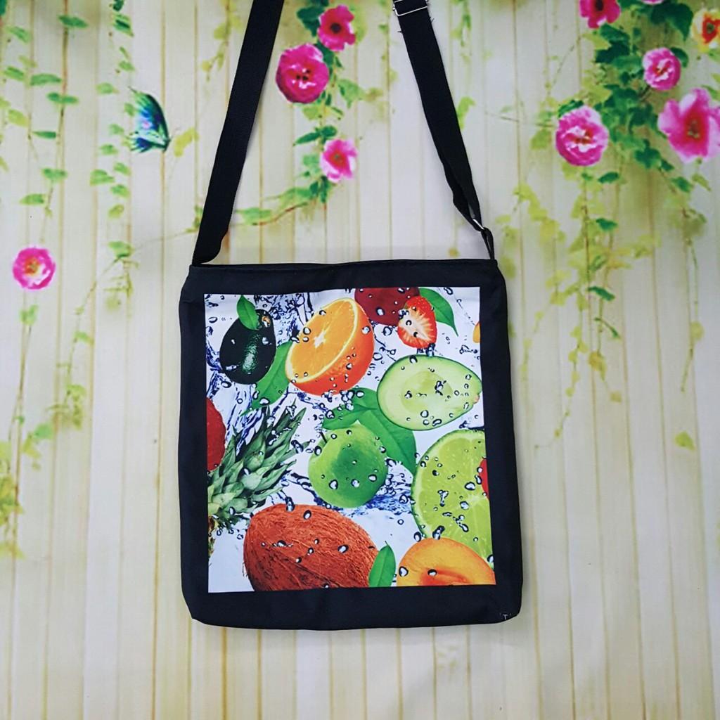 Túi tote đeo chéo vải bố hình trái cây mùa hè