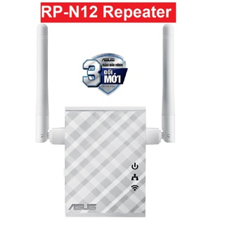 Bộ Mở Rộng Sóng Asus RP-N12 Repeater Chuẩn N300 2 Ăng-ten 2dBi Giúp Tăng Độ Phủ Sóng thumbnail