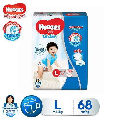 Tã dán Huggies Dry Super Jumbo M76/L68/XL62/XXL56