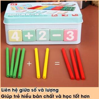 [Phát Triển Kỹ Năng Tính Toán] Hộp que tính học toán cho bé