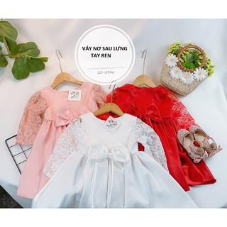 Váy HB nơ lưng phối tay ren điệu đà cho bé gái - VHB