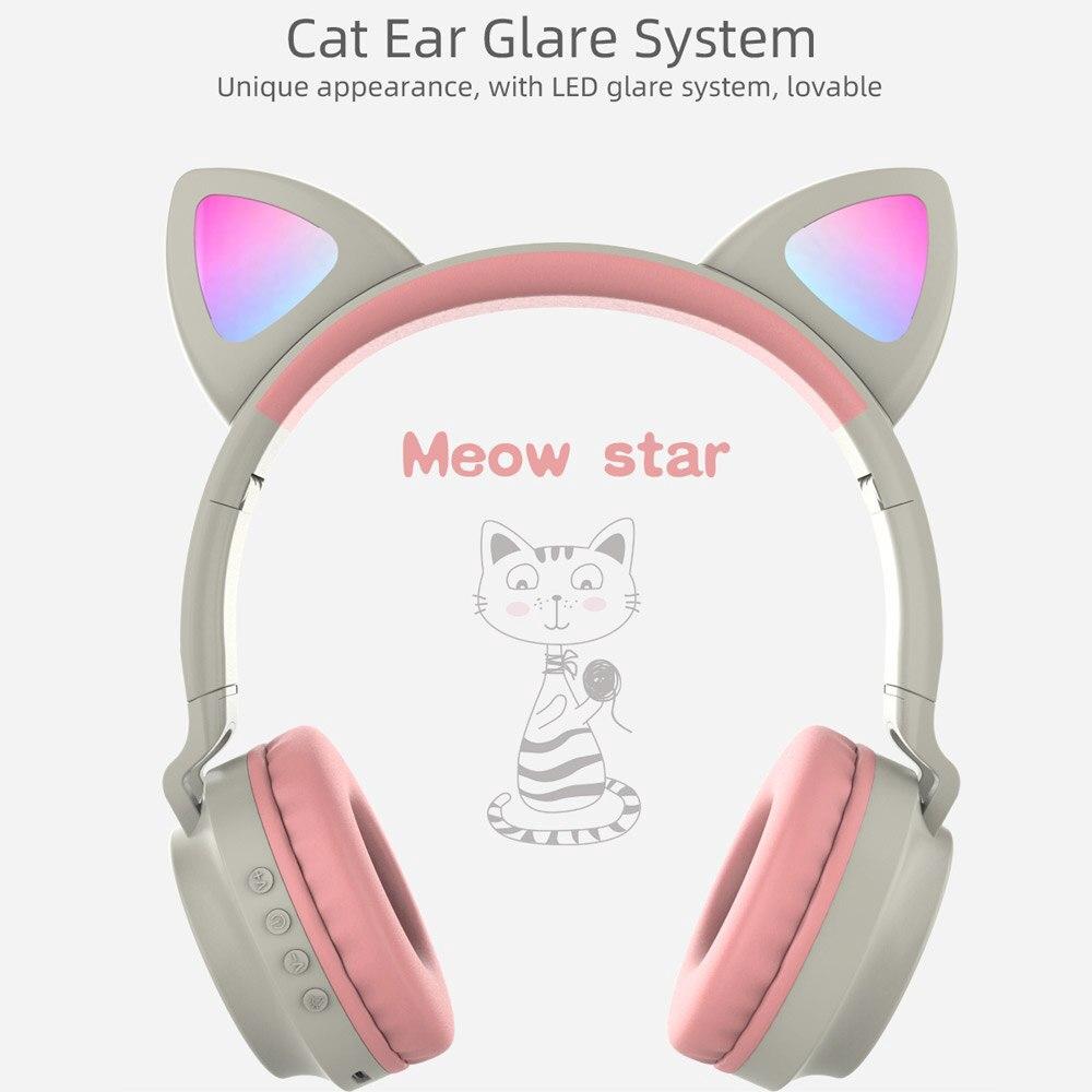 Tai nghe chụp tai không dây bluetooth dạng tai mèo phát sáng tích hợp micro dành cho máy tính