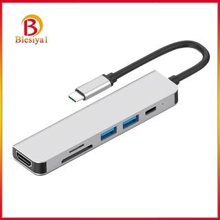 [BLESIYA1]6in1 USB-C Type C to 4K HDMI USB 3.0 HUB Adapter TF Card Reader For MacBook Pro