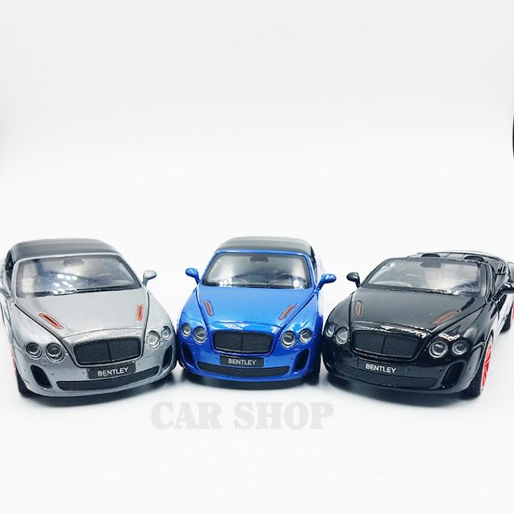 Xe mô hình sắt Bentley Continental ISR màu bạc tỉ lệ 1:32 chất lượng