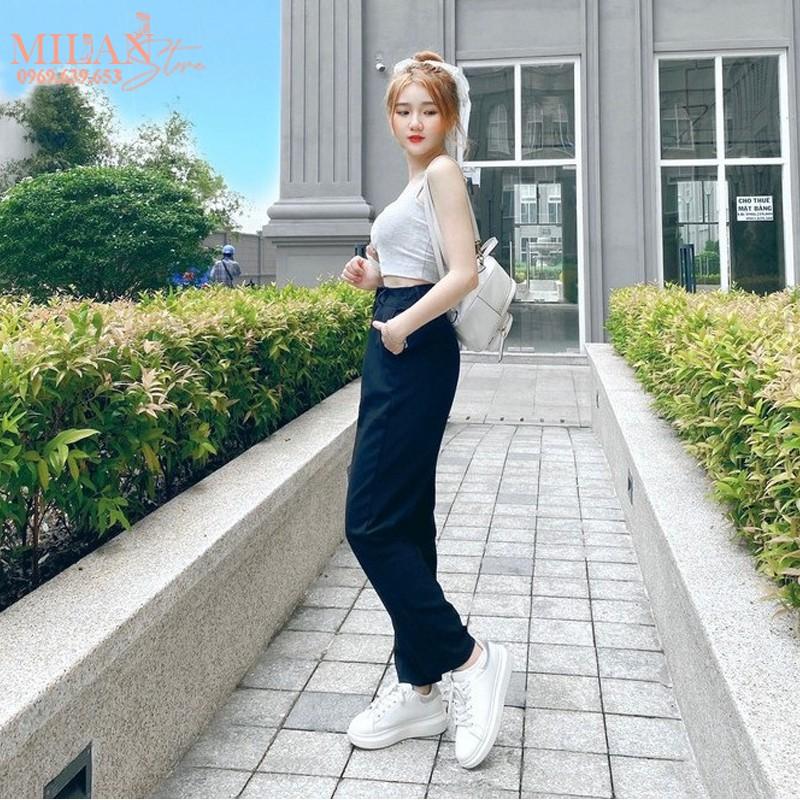 Mặc gì đẹp: Sang trọng với Quần tây baggy đi học nữ cạp có đai lưng cao màu đen dáng dài - Quần vải công sở Vitex dày dặn phối áo sơ mi đi học làm