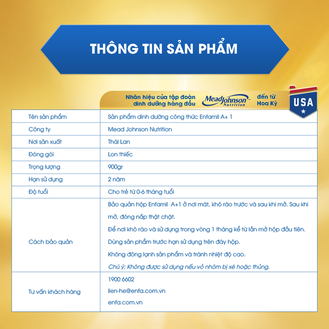 Sữa Enfamil A + 1 360° Brain DHA+ với MFGM PRO 900g