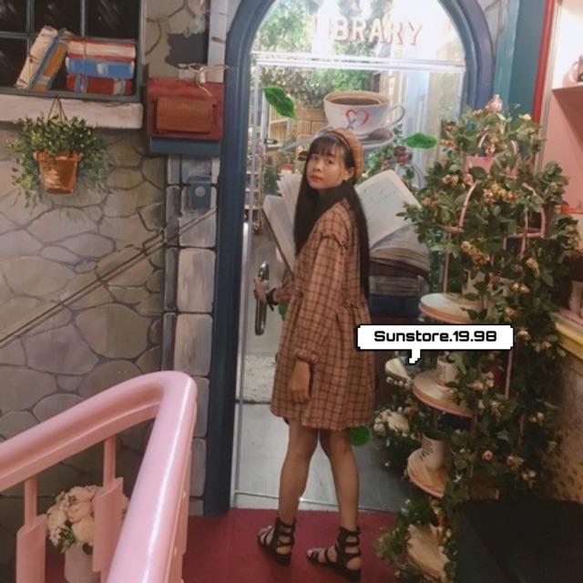 Đầm babydoll caro nữ tay phồng dài quảng châu ulzzang