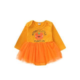 ❤COU☞Baby Girl Halloween Costume Newborn Cute Pumpkin Print Outfit Tutu Tomper Dress