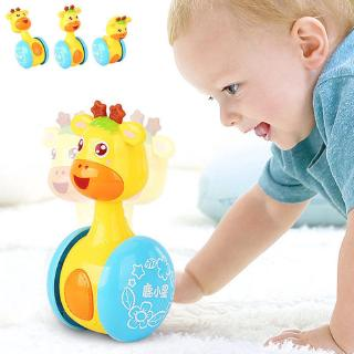 Newborns Giraffe Tumbler Doll Roly-poly Toys Rattles Ring Bell Educational Toy