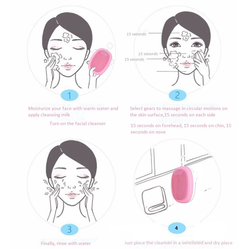 Facial Cleansing Brush Soft Silicone Face Cleanser Brushes Massager for All Skin Rechargeable Deep Scrubbing Shape Exfoliator