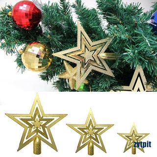 [ZPI] Christmas Tree Top Decor Gold Star Xmas Holiday Party Ornament 20CM SI