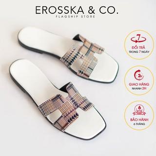 [Form bé tăng 1 size] Dép nữ Erosska thời trang quai chữ H màu trắng _ DE002