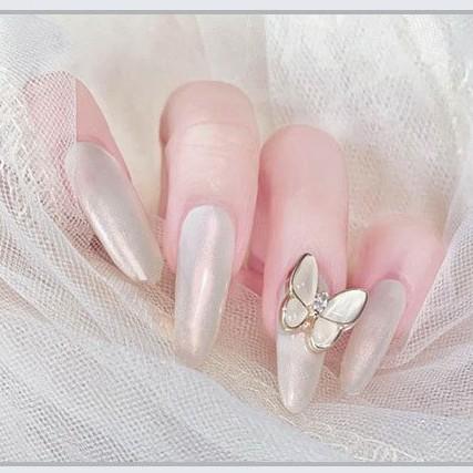 24 móng tay giả đính đá hình bướm cao cấp Hinnail móng giả đính đá dài nhọn