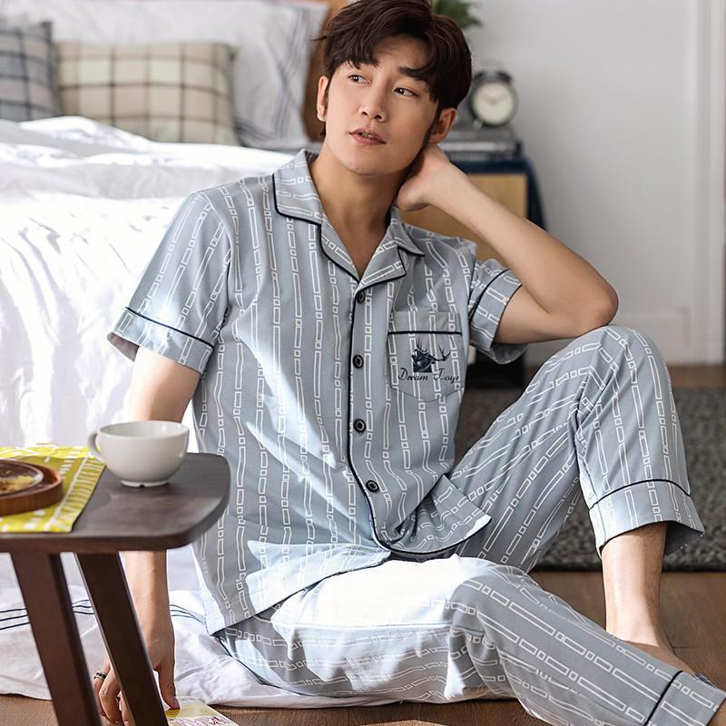 Bộ đồ mặc nhà Pijama nam cộc tay vải cotton 100% siêu thoáng mát, mềm mại dễ chịu, họa tiết nam tính
