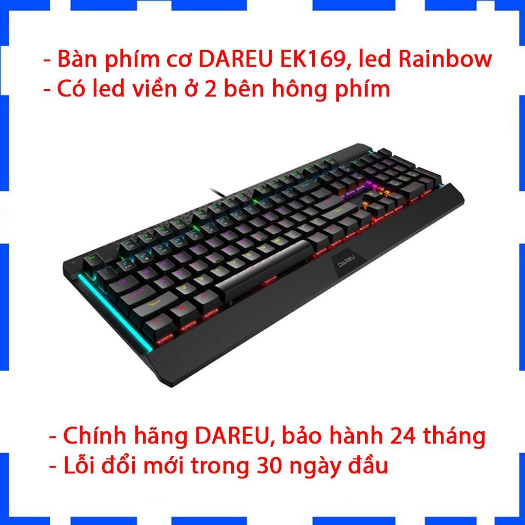 Bàn phím cơ Gaming Dareu EK169 - Màu đen - Led 7 màu - Chính hãng BH 24 tháng - Cam kết lỗi 1 đổi 1