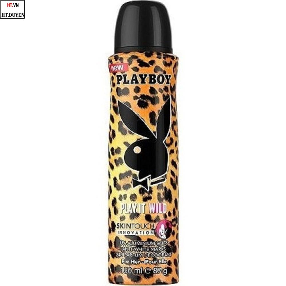 Xịt khử mùi 150ml Playboy Play It Wild hương nước hoa 100% chính hãng