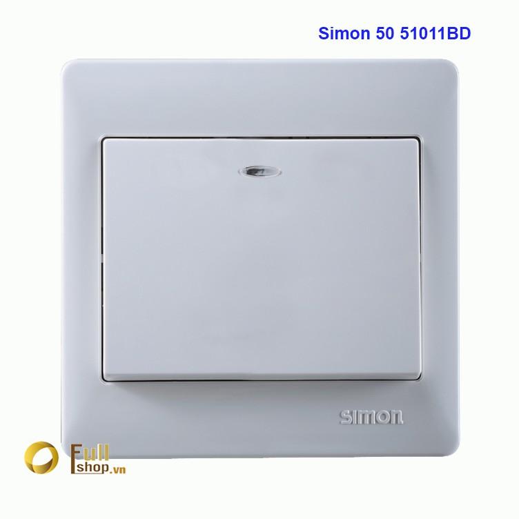 Bộ công tắc đơn 1 chiều có đèn LED lắp chuẩn đế vuông Simon 50 51011BD