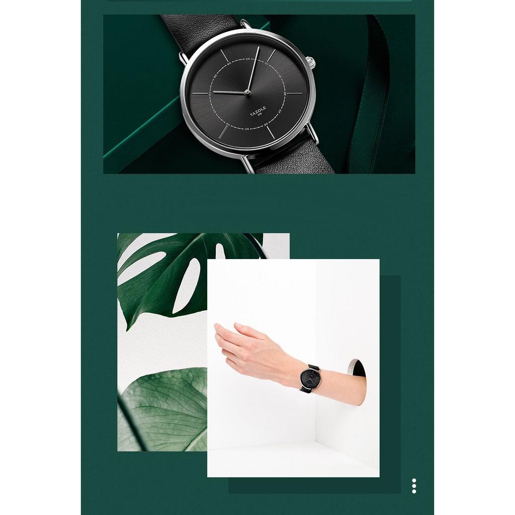 Đồng hồ nam Yazole 508 2 kim dây da thời trang sang trọng lịch lãm