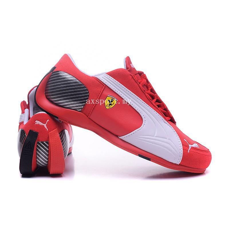 สินค้าพร้อมส่งต้นฉบับ Puma Ferrari 4 Leather Sports Shoes รองเท้าลำลองสีแดง - ขาว