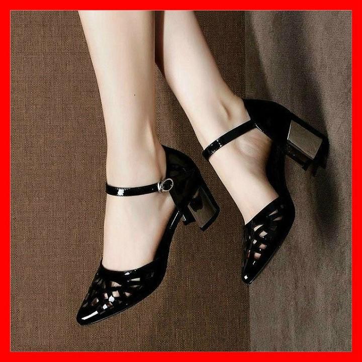 Giày cao gót nữ đẹp đế vuông 5 phân màu đen hàng hiệu rosata za05
