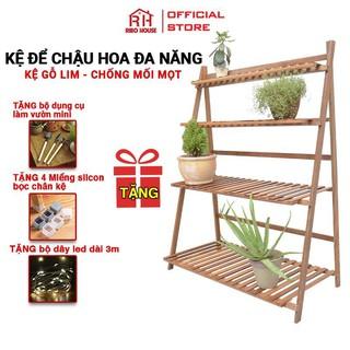 Kệ cây cảnh gỗ Lim đa năng bonsai shelves chống mốc gấp gọn RIBO HOUSE chống mối mọt độ bền cao TẶNG QUÀ KHỦNG RIBO67