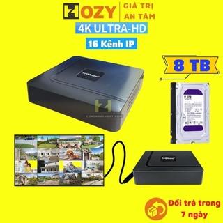 Đầu ghi hình camera IP 16 kênh 8MP/4K Srihome dùng cho dahua, imou, hikvision,Yoosee ,Onvif hỗ trợ ổ cứng 8TB NVS003