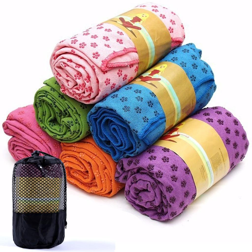 Khăn trải thảm yoga siêu bền(tặng túi đựng)hạt cao su non