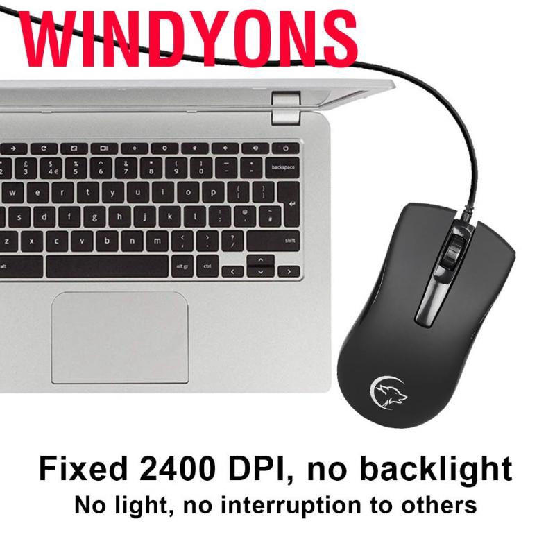 Windyons  3-Button Wired USB Mice for Business Office Ergonomic Gaming Mouse 2400DPI Optical 20 Million Times Cli