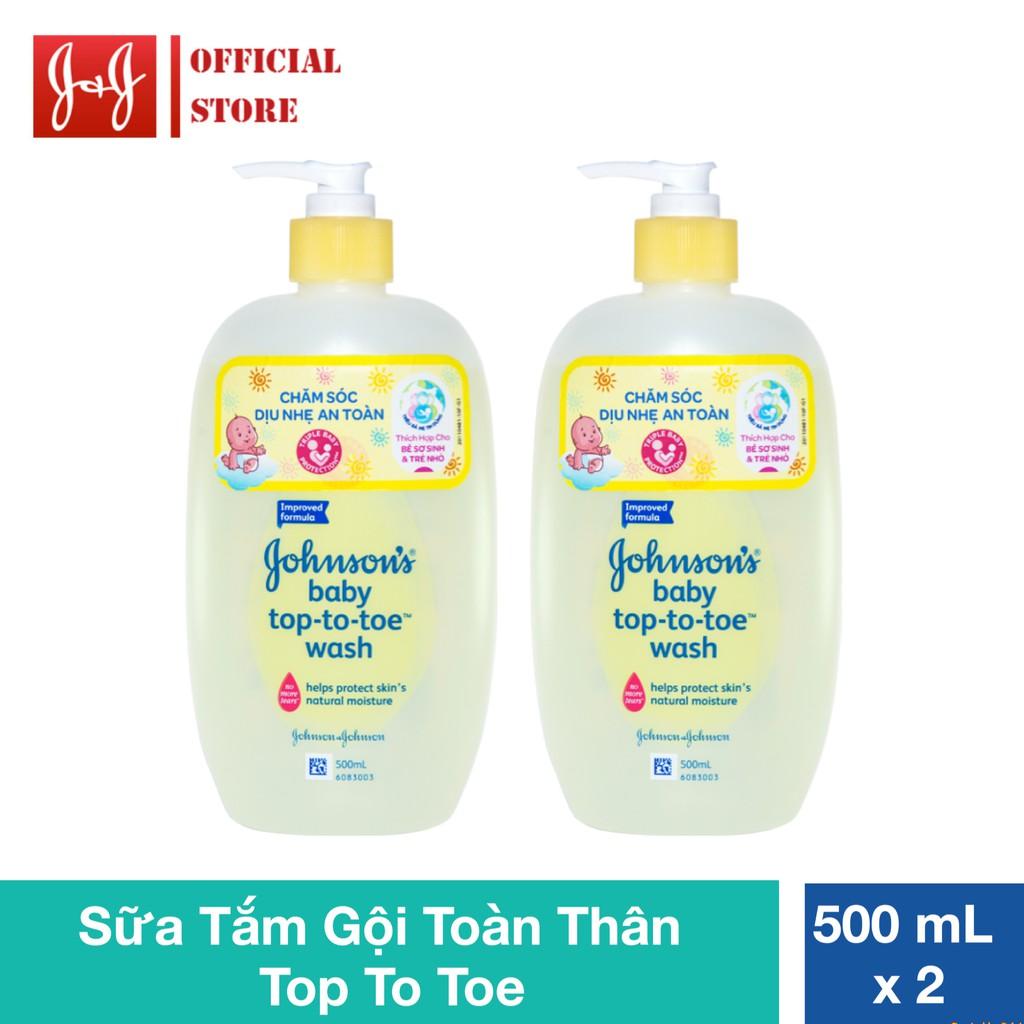 Bộ 2 sữa tắm gội toàn thân Johnson's baby top to toe 500ml - 100891141