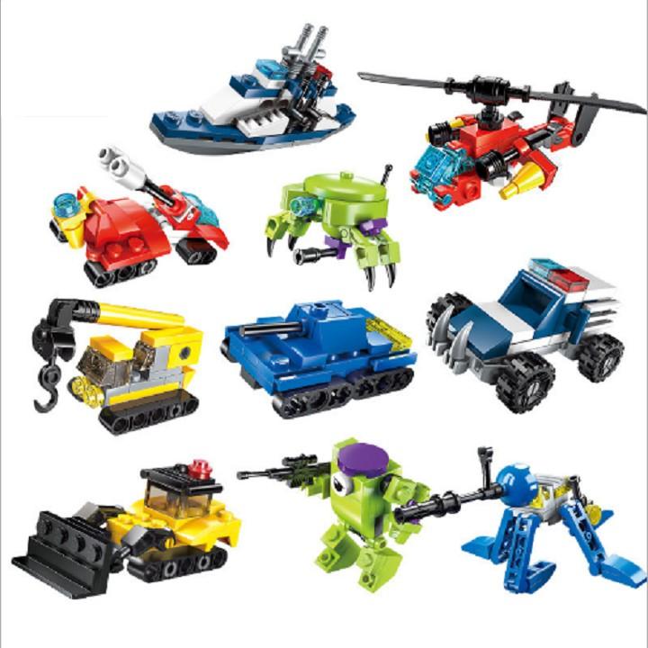 Combo 10 bộ lắp ráp mini mô hình các phương tiện khác nhau