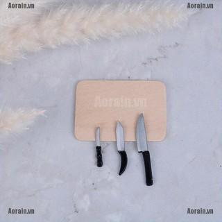 MT 4Pcs 1:12 Dollhouse miniatures kitchen Cutting Board Knife set mini toys NY