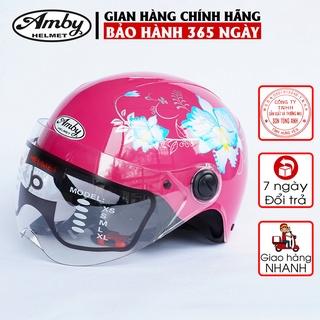 Mũ bảo hiểm trẻ em Amby, loại nửa đầu có kính che nửa mặt, có họa tiết hoa văn bắt mắt cho bé trai và gái - hồng đậm thumbnail