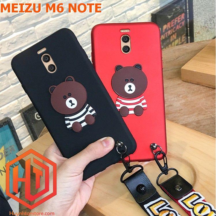 Meizu M6 Note _ Ốp gấu gắn 4D nổi (tặng kèm dây đeo tay)