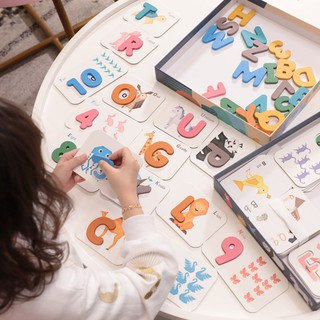 Đồ chơi gỗ [CAO CẤP] học chữ kèm số đếm cho bé