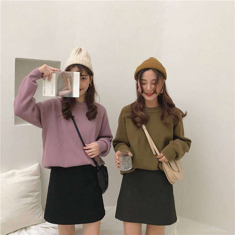 Áo len tay dài màu trơn phong cách Hàn Quốc dễ thương cho nữ