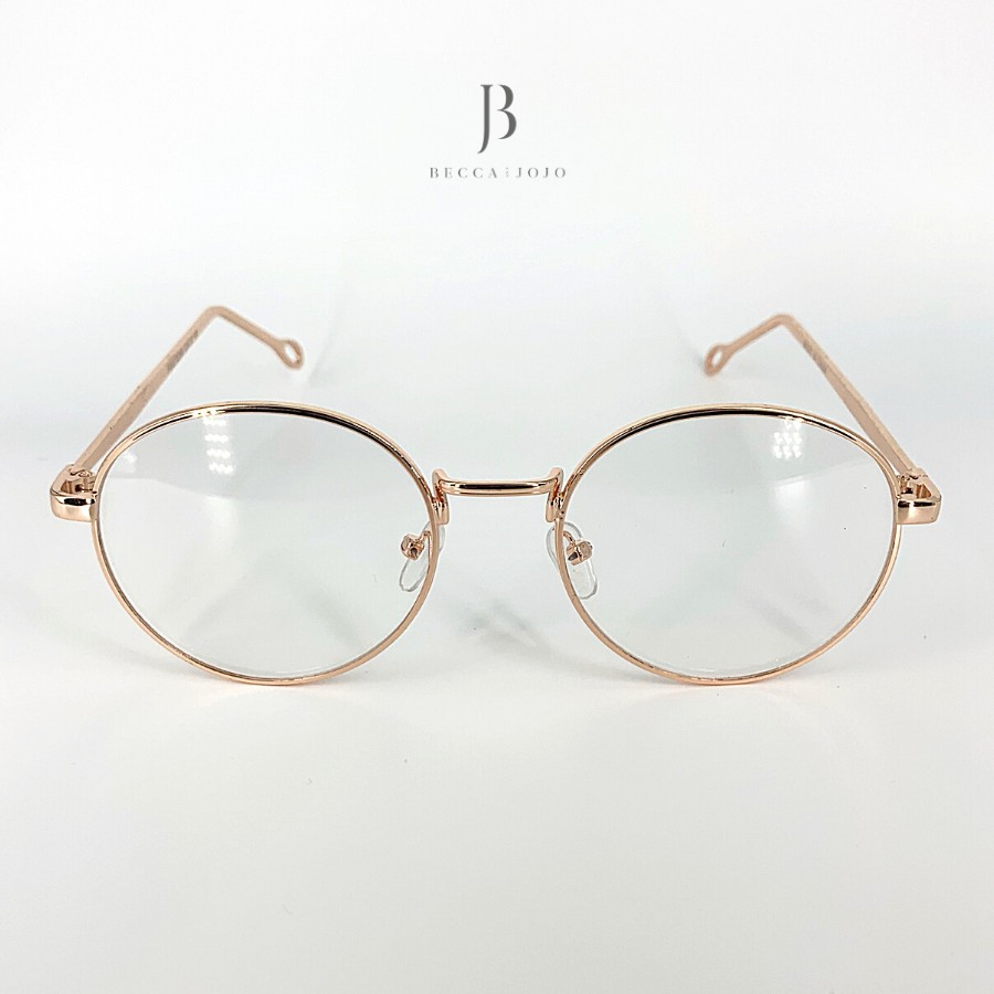 Giá bán Gọng kính cận tròn kim loại nam nữ cao cấp, chống bụi và ánh sáng xanh Becca & JoJo