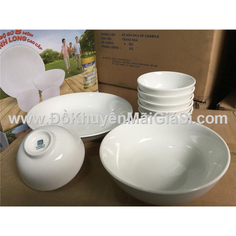 Bộ bàn ăn Minh Long 8 món màu trắng ngà - Sữa Sure Prevent tặng.