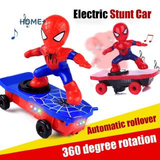 Kids Electric Stunt Toy Automatic Spider Man Rollover Stunt Car Toy @vn