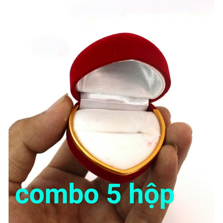 COMBO 5 HỘP NHUNG TRÁI TIM