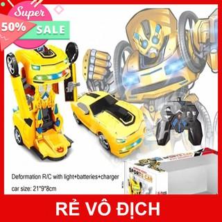 RVĐ__{Giá sập sàn}Ô tô biến hình Warrior robot Sports Car JS-001A có điều khiển ( Màu vàng)__H3C__SmartBuy